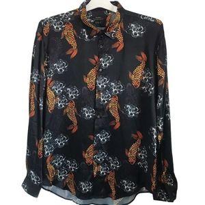 ZARA Satin Fish Print Long Sleeve Button Up Shirt